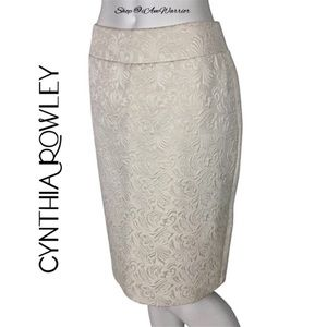 Cynthia Rowley textured cream pencil skirt